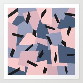 Patches Abstract Pattern Black, Blue, Pink, Gray Art Print