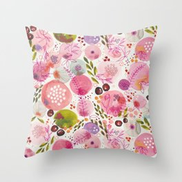 Pink Bubble for a Happy Spring Throw Pillow