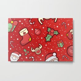 Christmas Icons Pattern / Part Two Metal Print