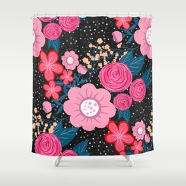 Pretty girly pink Floral Silver Dots Gray design Shower Curtain