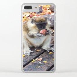 Green Monkey Munching Clear iPhone Case