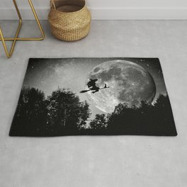 Flying witch | Moon witch | Witch cat | Witch broom | Halloween Rug