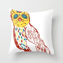Sugar Skull Owl Throw Pillow