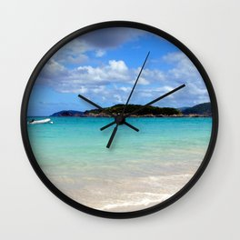 Watercolor Landscape Cinnamon Bay Beach 02, This is the Life! Wall Clock