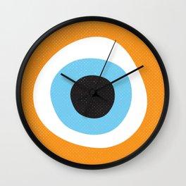 Orange Evil Eye Symbol Wall Clock