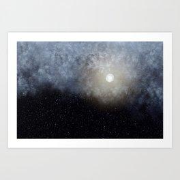 Glowing Moon in the night sky Art Print