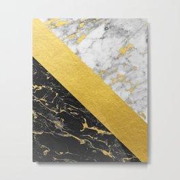 Marble Mix // Gold Flecked Black & White Marble Metal Print