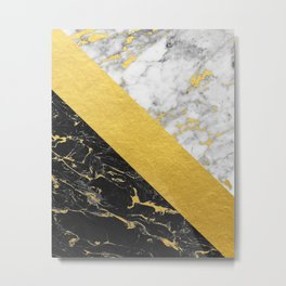 Marble Mix // Gold Flecked Black & White Marble Metal Print