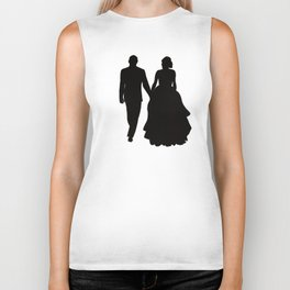 Wedding Couple Silhouette Design For Weddings Biker Tank