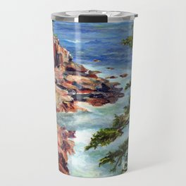 Thunder Hole, Acadia National Park, Maine Coast, acrylic painting by Pamela Parsons, oceean Travel Mug