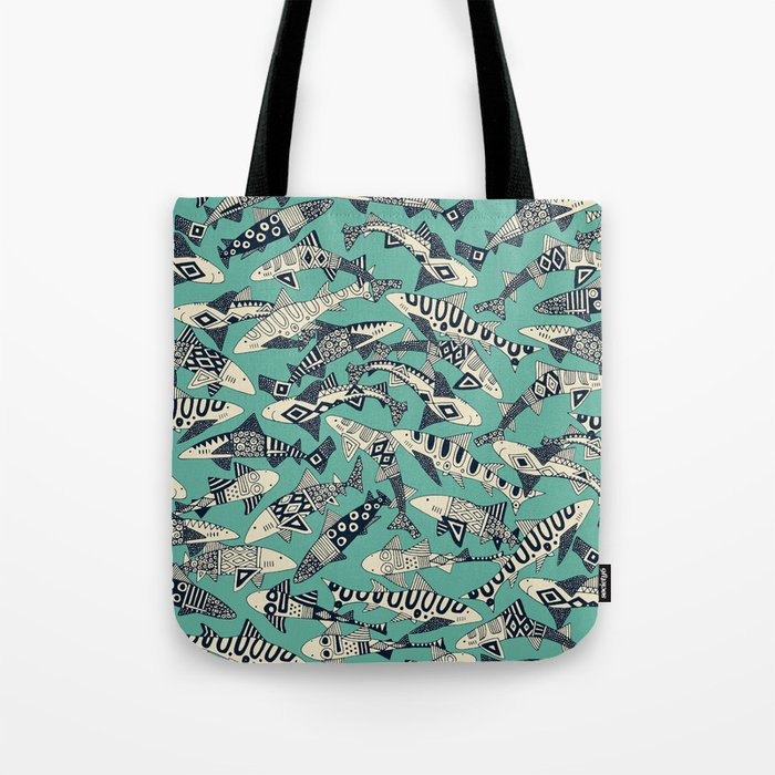 shark party jade Tote Bag