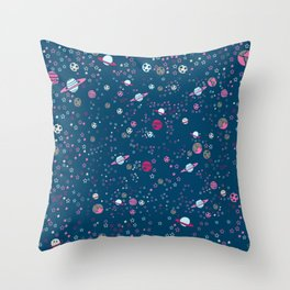 Cute Space Pattern with Stars, Planets and Meteorites Throw Pillow