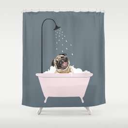 Laughing Pug Enjoying Bubble Bath Shower Curtain