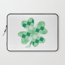 Checkered Shamrock. Four Leaf Clover. St Patrick's Day Laptop Sleeve