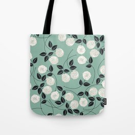 Pattern with white roses Tote Bag
