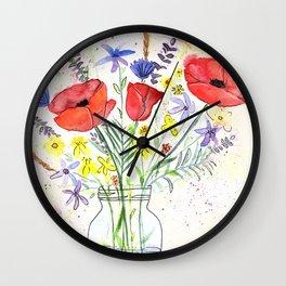Poppy bouquet in a mason jar Wall Clock