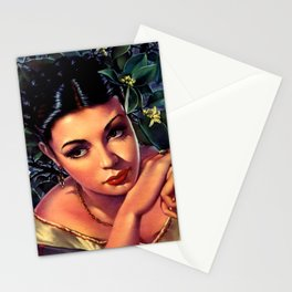 Jesus Helguera Painting of a Sultry Spanish Calendar Girl Stationery Cards