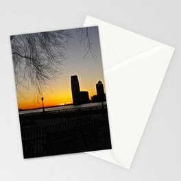 Sunset over The Hudson River, NYC 3 Stationery Cards