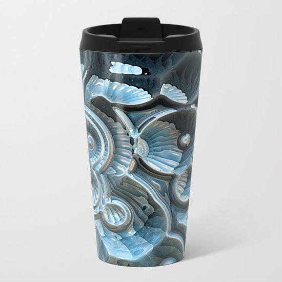 Reflections of A Fractal Fossil Metal Travel Mug