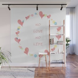 Watercolor illustration of heart and bubbles Wall Mural