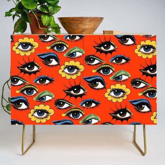 60s Eye Pattern Credenza