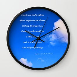 """""""Clouds #57"""" with poem: God's Pillows Wall Clock"""