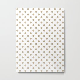 Small Polka Dots - Khaki Brown on White Metal Print