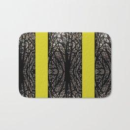 Gothic tree striped pattern mustard yellow Bath Mat
