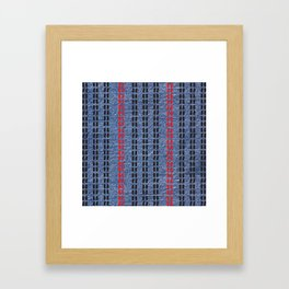 Digital Graphic Pattern Blue Denim Framed Art Print