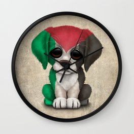Cute Puppy Dog with flag of Palestine Wall Clock