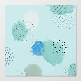 Abtract paint in light blue Canvas Print