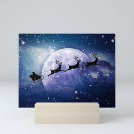 Santa Claus Reindeer Christmas Night Moon Mini Art Print