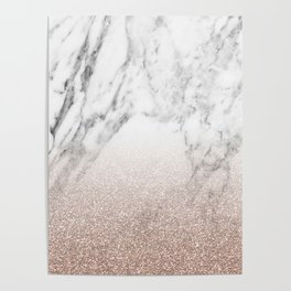 Marble sparkle rose gold Poster