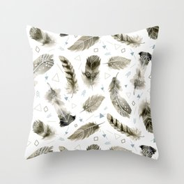 Boho shic style Feathers Throw Pillow