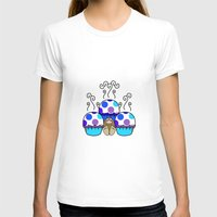 polkadot T-shirts featuring Cute Monster With Blue And Purple Polkadot Cupcakes by Mydeas