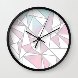 Modern white pink teal watercolor geometrical shapes Wall Clock