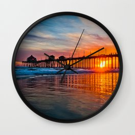 HB Sunsets - Sunset At The Huntington Beach Pier 3/10/16 Wall Clock