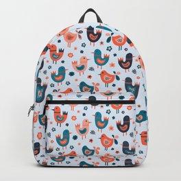 Scandinavian Birds Blue Red Backpack