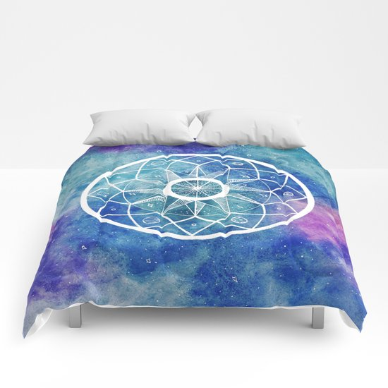 Watercolour Cosmic Mandala Comforters