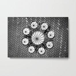 Black and White Ellis Island Chandelier - New York Metal Print