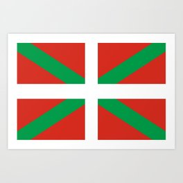 Flag of Euskal Herria-Basque,Pays basque,Vasconia,pais vasco,Bayonne,Dax,Navarre,Bilbao,Pelote,spain Art Print