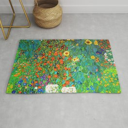 Gustav Klimt Garden with Sunflowers Rug