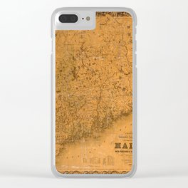Map Of Maine 1852 Clear iPhone Case