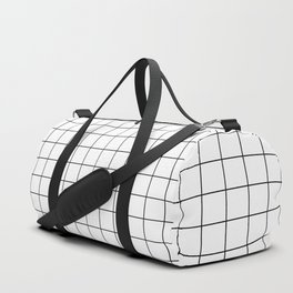 Grid Pattern Stripes Lines Black and White Minimalist Geometric Stripe Line Duffle Bag