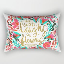The Earth Laughs in Flowers – Pink & Gold Rectangular Pillow