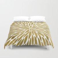 golden Duvet Covers featuring Golden Burst by Cat Coquillette