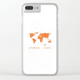 Adventure Map - Retro Orange on White Clear iPhone Case