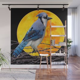 BLUE JAY & GOLDEN MOON LIGHT ABSTRACT Wall Mural
