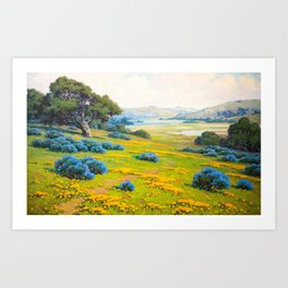 A Spring Morning, Poppies and California Bush Lupine by John Marshall Gamble Art Print