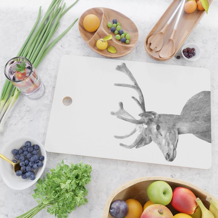Black and white deer animal portrait Cutting Board